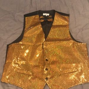 Other - Gold sequin vest with bow tie.